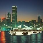 Chicago Pavilions night skyline view